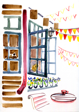 watercolor illustration of city space. Street cafe windows, table and flags. Stockfoto