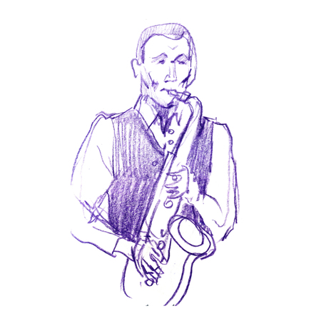 Sketch of a musician with a saxophone. Jazz color pancil illustration. Saxophonist on a white background. Stock Photo