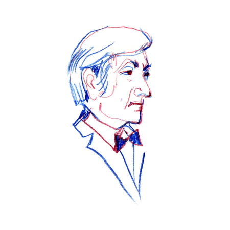 Hand drawn portrait of man side-view. Portrait of a man in a bow tie. Color pancil illustration. Stock Photo
