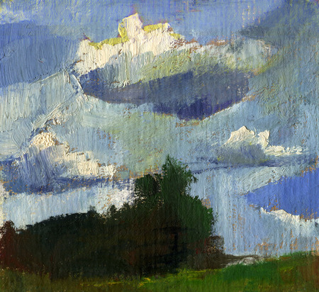 Summer landscape oil painting with clouds 스톡 콘텐츠