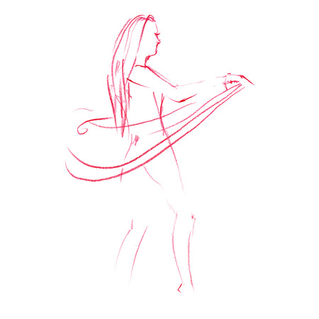 Art line of belly dancer. Young slender girl in east suit shows movement of arabic dance. Drawing by lines. Isolated image.
