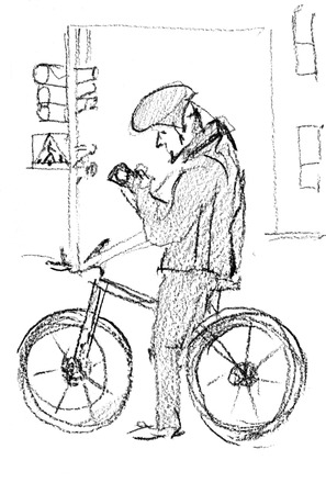 Pencil sketch. A male cyclist has stopped at a traffic light. He is looking at his mobile phone. Banque d'images