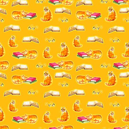 Watercolor cats seamless wallpaper. Cartoon animals children illustration. Emoji yellow pattern background. Stock Photo