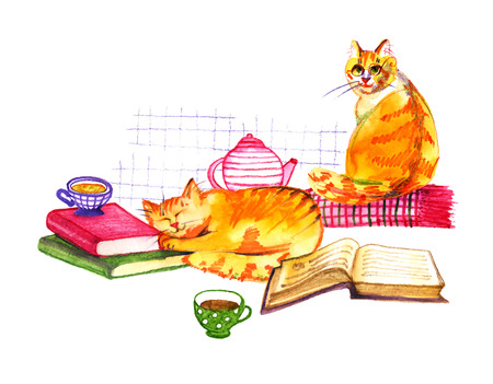 Composition with watercolor cats, books and tea on white background. Watercolor pencils hand drawn illustration