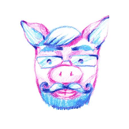 Aper, boar, hog, wild boar. Animal pig in glasses. Scientist family man. Elegant vintage animal. Image for tattoo, t-shirt, emblem, badge, logo, patch