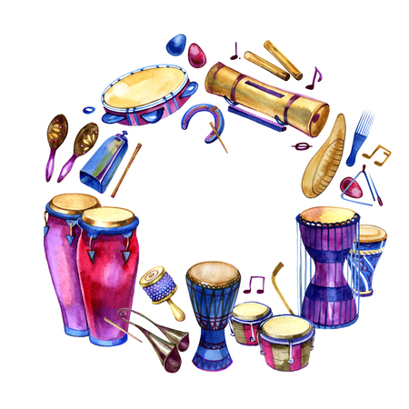 Percussion instruments. Circle filled with hand drawn doodles of ethnic drums on a white background. Music design frame. Banque d'images
