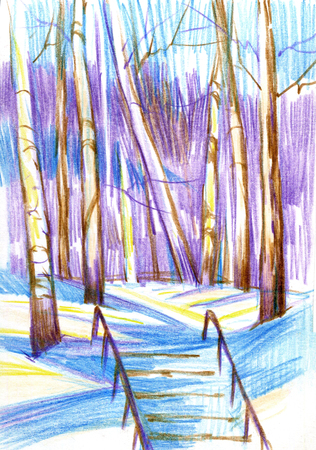 Winter landscape with birches and stairs. Color pancil, hand drawn. 写真素材