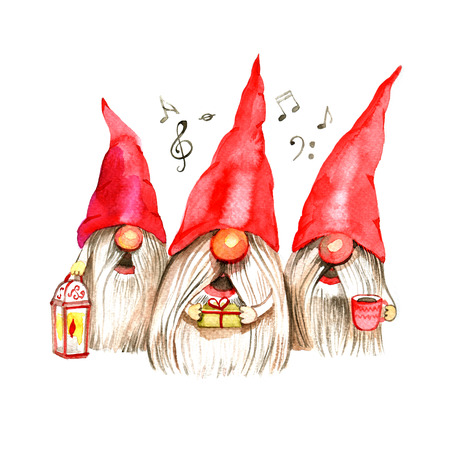 Watercolor Christmas illustration with trio singing dwarfs. Christmas cards. Winter design. Merry Christmas