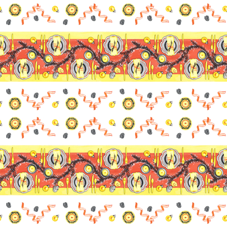 Seamless hand draw gouache pattern. Christmas dinner table with Christmas balls and champagne.