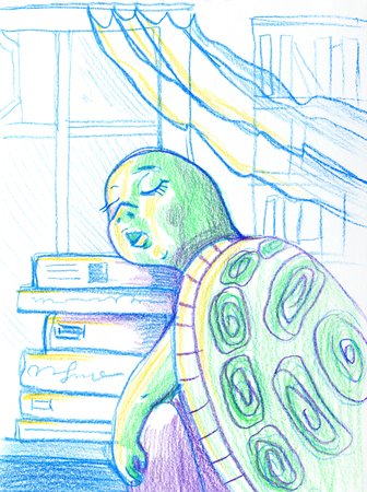 Cartoon Illustration of Funny Turtle Animal Character Sleeping in Classroom Stock Photo
