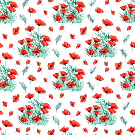 Seamless pattern with hand paint watercolor red poppy. 免版税图像