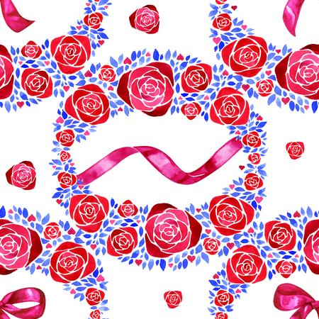 Watercolor bows, hand drawn pink ribbons