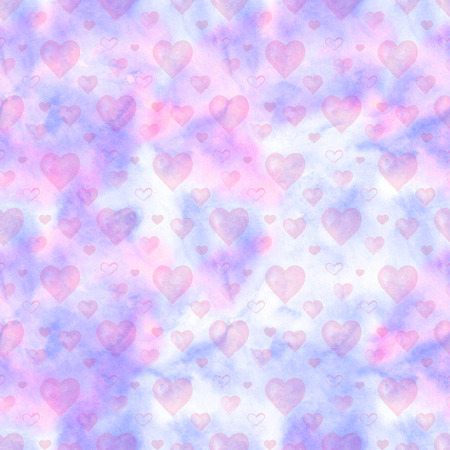 Watercolor seamless pattern with pink hearts and clouds. Perfect for greeting card, wallpaper, textile design. Hand painted illustration Stockfoto