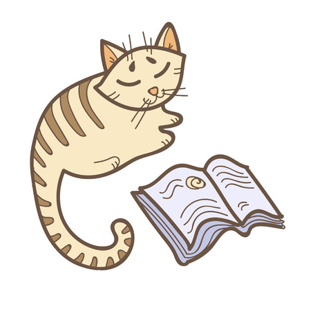 A little cat reading a book. Cute kitten isolated on white background. Education vector illustration. Back to school image. Adorable animal clip art. Illustration