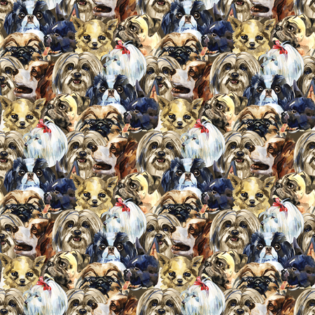 Decorative dog breeds wild animal pattern in a watercolor style. Full name of the animal: dogs. Aquarelle wild animal for background, texture, wrapper pattern or tattoo. 免版税图像