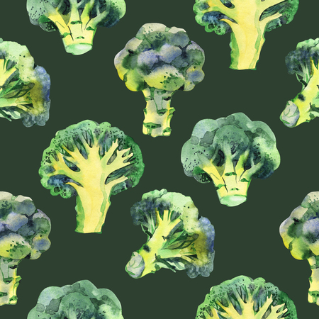 Seamless pattern with broccoli. Watercolor illustration. Food background.