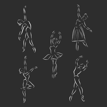 Icon ballerina in a linear style. Black and white illustration. Illustration