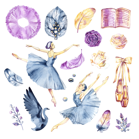Watercolor sketch. Ballet accessories, pointes and skirt. Print elements.