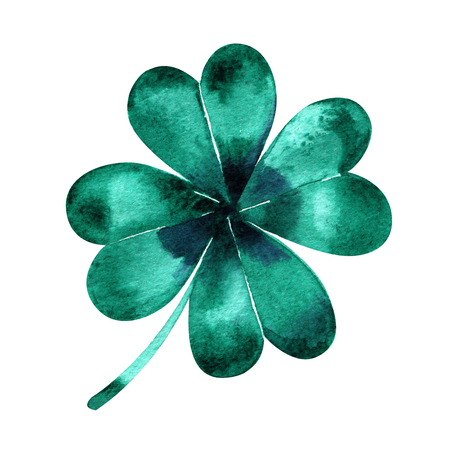 Four-leaf clover. Watercolor illustration on white background.