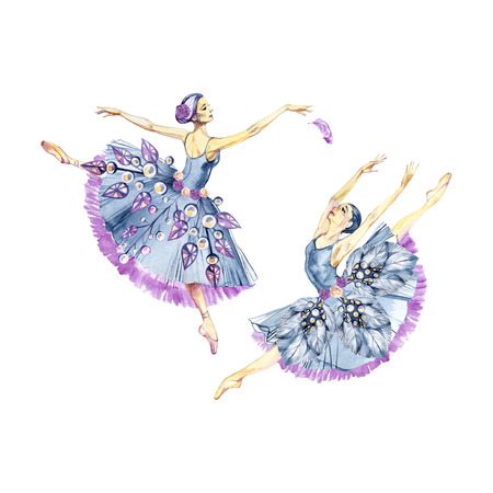 Ballet  Watercolor hand painted illustration isolated on light background. Ballet series. Stock Photo