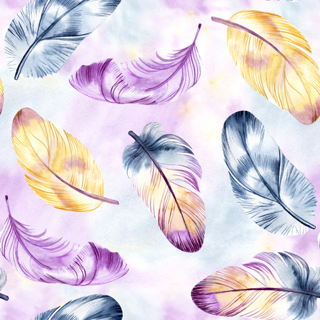 Vintage feathers design. Retro watercolour seamless pattern. Isolated on watercolor background. It can be used for card, postcard, cover, invitation, wedding card, mothers day card, birthday card, poster, print. Stockfoto