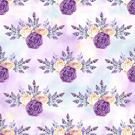 Seamless texture pattern of pink and yellow roses, jewelry and rhinestones. Фото со стока