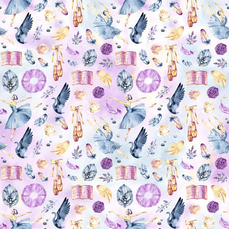 Watercolor seamless border patterns with little ballerinas Banque d'images