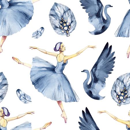 Ballet seamless pattern with ballerina symbols