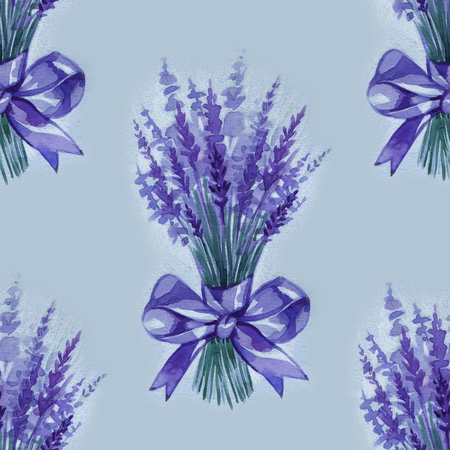 Lavender flowers purple watercolor seamless pattern. Beautiful violet lavender retro background. Elegant fabric on light background Surface pattern design.