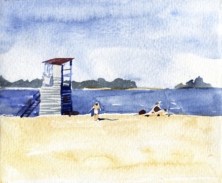 People on the beach. Watercolor hand drawn illustration