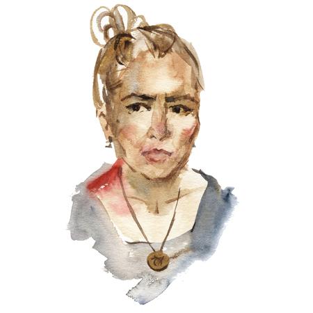 Beautiful women face. Serious girl portrait. Watercolor painting on white background. Banco de Imagens - 120971853