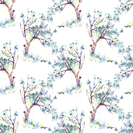 hand drawn blooming apple tree seamless pattern. Its perfect for wallpaper, fabric design, textile design, cover, wrapping paper, surface textures, digital paper. Banco de Imagens - 120972249