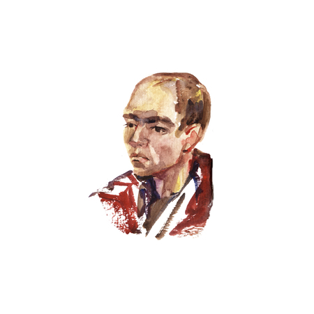 watercolor portrait of young man handmade self made painting 写真素材