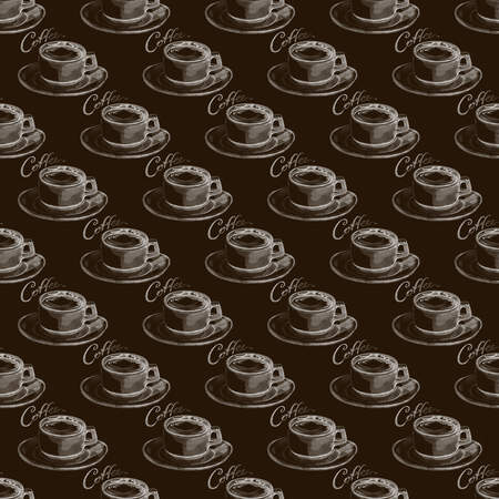 Seamless pattern with watercolor hand painted coffee cup. Drink background in pastel brown color perfect for menu design and fabric textile