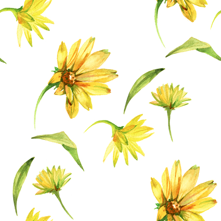 Seamless pattern with yellow flowers. Watercolor hand drawn illustration isolated on white background. Banco de Imagens - 120974117