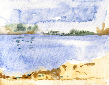 Abstract sky and water space landscape, watercolor painting drawing illustration design, huge peace space