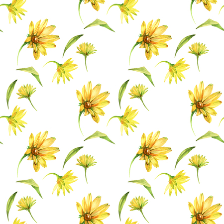 Seamless pattern with yellow flowers. Watercolor hand drawn illustration isolated on white background.