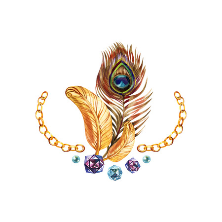 Peacock gold feather. Vintage curl watercolor Reklamní fotografie