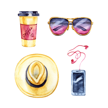 Travel hipster set. Watercolor illustration on a white background