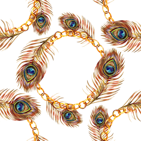 Naadloos aquarelpatroon met gouden pauwenveren