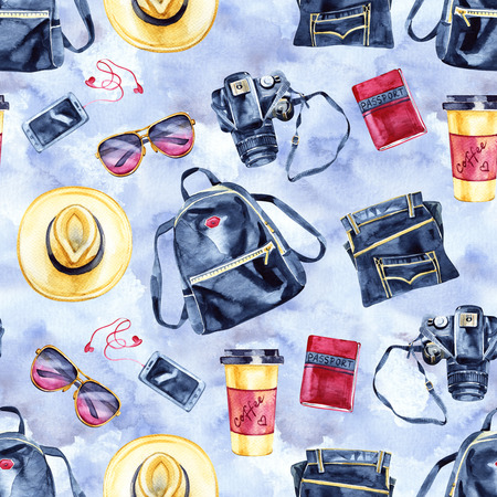 Watercolor summer vacation fashion pattern. Vintage hand drawn seamless texture with tourism objects.
