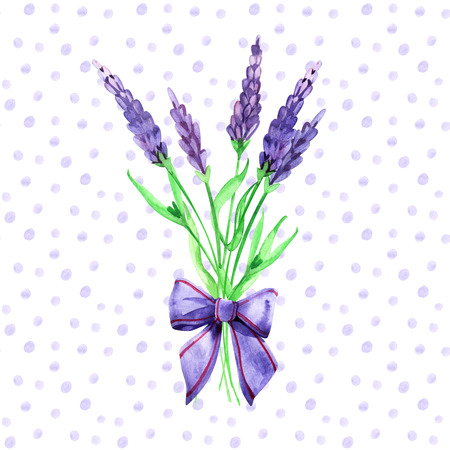 Floral decor. Watercolor bouquet of wild chamomile flowers, lavender and spikes