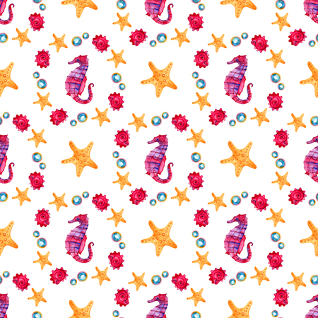 Seamless pattern with underwater life objects. Marine design-shell, sea star. Watercolor hand drawn painting illustration. Element for posters, greeting cards.