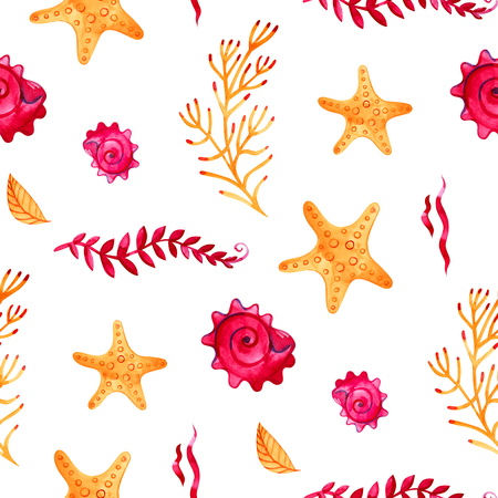 Seamless pattern with marine starfish. Watercolor background. Can be used for fabric, wallpaper, banner, pack, web page. Isolated elements for easy use.