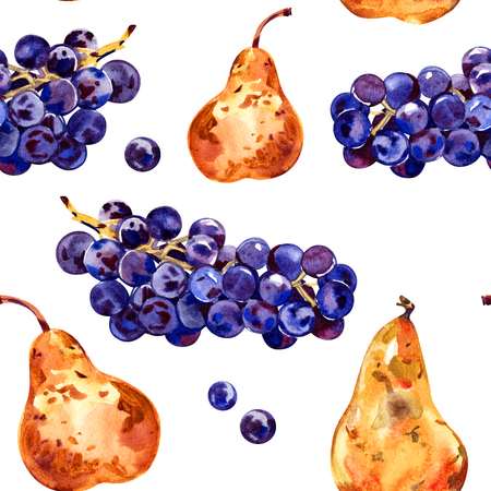 Seamless pattern with fruits. Grapes and pear. Watercolor illustration. Hand drawn 스톡 콘텐츠