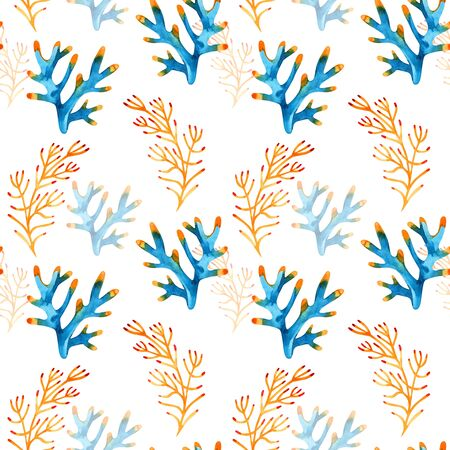 High quality watercolor seamless pattern with underwater life objects.