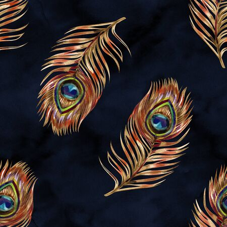 Seamless watercolor pattern with gold peacock feathers