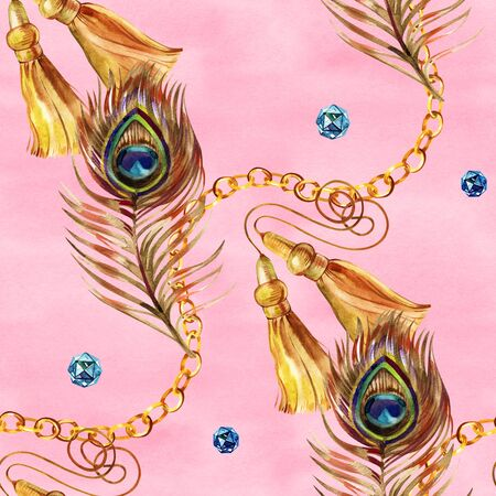 Golden seamless pattern set illustration. Watercolor hand drawn fashion texture with different gold chains, ropes, feathers, belts, design elements on white background. Watercolour print for fabric 写真素材