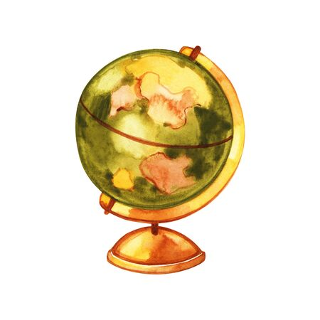 Globe Earth painted watercolor. Hand drawing. Watercolor illustration. 스톡 콘텐츠