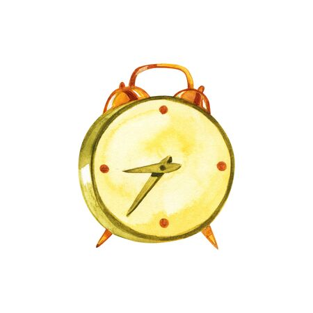 watercolor illustration vintage alarm clock. hand painted. isolated element. back to school. Stock Photo